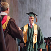 Record-Eagle/ Keith King<br /> Daniel Cholger prepares to accept his diploma Saturday, June 12, 2010 during the Traverse City West Senior High School graduation ceremony at Kresge Auditorium.
