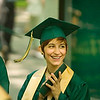 Record-Eagle/Jan-Michael Stump<br /> Traverse City West High School senior Amy Pagel (cq) laughs with classmates while lining up for graduation Saturday at the Interlochen Center for the Arts.