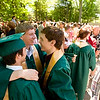 Record-Eagle/Jan-Michael Stump<br /> Traverse City West High School graduates, from left, Michael Rozycki (cq), Dan Jarboe (cq) and Josh Stauber (cq) celebrate after Saturday's commencement at the Interlochen Center for the Arts.