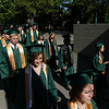 Record-Eagle/Keith King<br /> Graduating seniors walk together toward their seats Sunday, June 5, 2011 during the Traverse City West High School graduation ceremony at the Interlochen Center for the Arts.