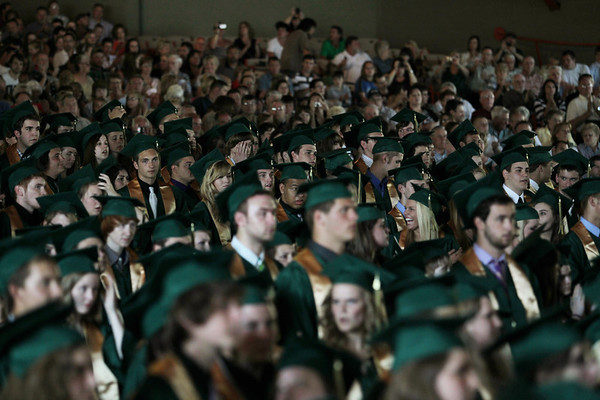 Record-Eagle/Keith King<br /> Traverse City West High School graduating seniors stand together Sunday, June 5, 2011 during the Traverse City West graduation ceremony in Kresge Auditorium at the Interlochen Center for the Arts.