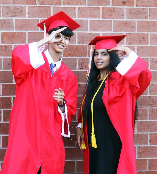 Andrew Stankiewicz and Ankita Bhagat pose for a photo beforeTyngsboro High graduation. (SUN/Julia Malakie)