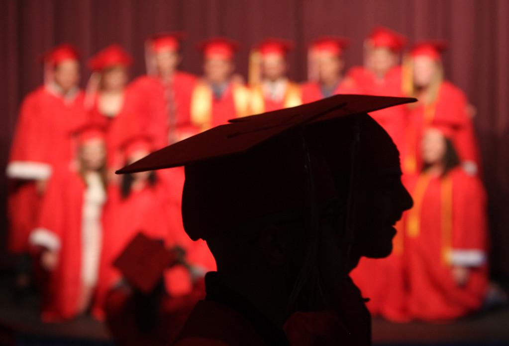 . Seniors gather in the auditorium beforeTyngsboro High graduation. (SUN/Julia Malakie)