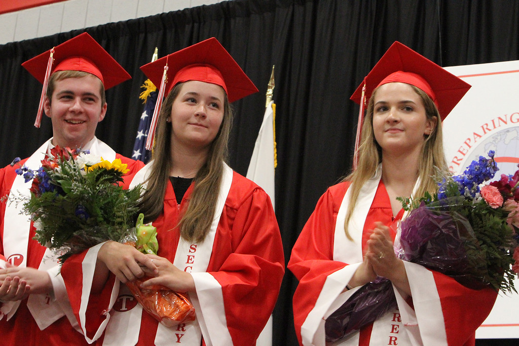 . Tyngsboro High graduation. Class vice president Christopher Fournier, secretary Sydney McCarty, and treasurer Erin Caron.  (SUN/Julia Malakie)