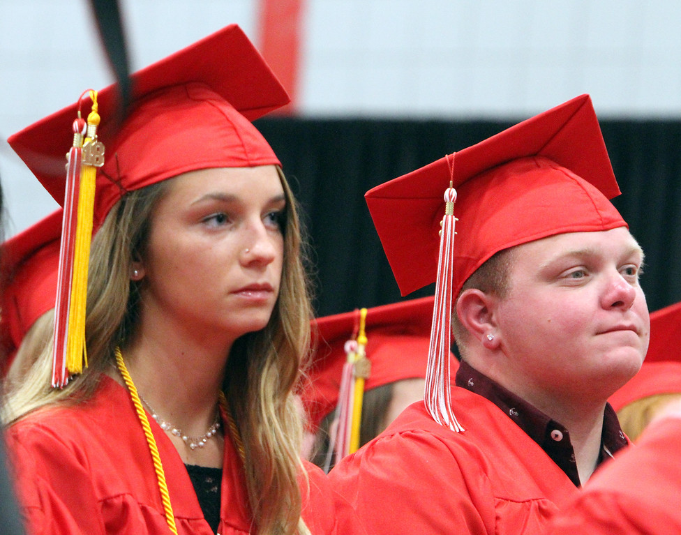 . Tyngsboro High graduation. Jessica Gendreau, left, and Joey Nichols. (SUN/Julia Malakie)
