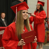Tyngsboro High School graduation, at the high school. Gabrielle Sweetland holds up her diploma. (SUN/Julia Malakie)