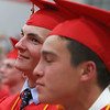 Tyngsboro High School graduation, at the high school. Troy Thirkell, left, Nick Yang. (SUN/Julia Malakie)