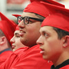 Tyngsboro High School graduation, at the high school. Layth Mather, center, and Nathaniel Joslyn, right. (SUN/Julia Malakie)