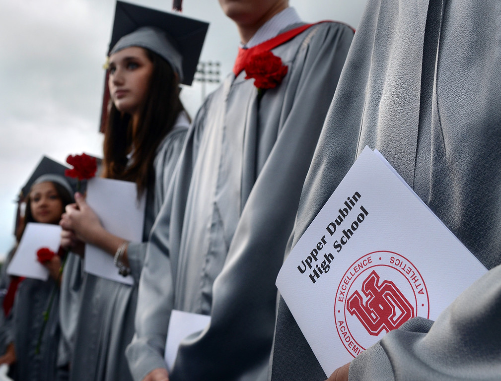 . Upper Dublin High School Class of 2014 members march into the stadium for their Commencement Ceremony at the school with storm clouds brooding on Tuesday evening June 10,2014. Photo by Mark C Psoras/The Reporter