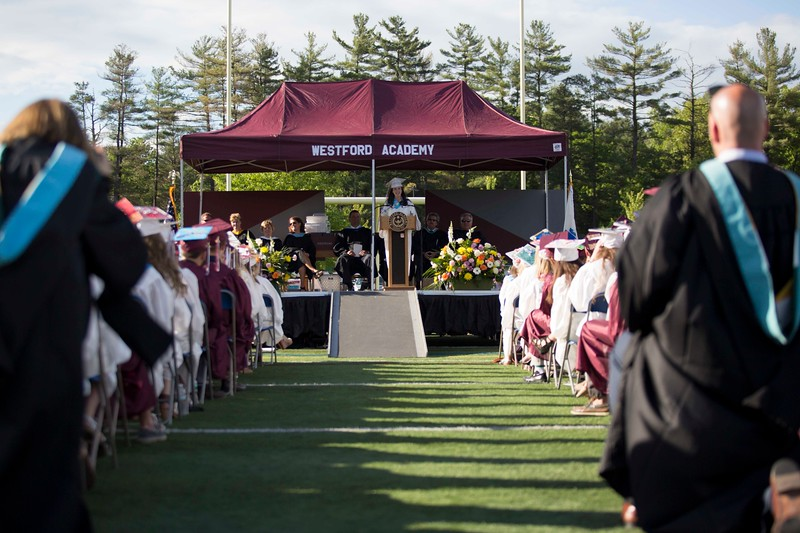 Westford Academy graduation on the turf field Friday. Lowell Sun/Chris Lisinski