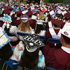 Westford Academy graduation was a sea of decorated caps. (SUN/Julia Malakie)