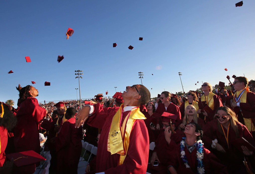 . June 15, 2017-Photo by Tracey Roman/for the Press-Telegram Caps are tossed in the air as the 2017 senior class of Wilson High School conclude their graduation ceremony.