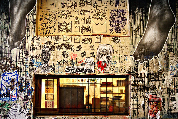 Window and Street Art - Post Alley, Seattle 2009