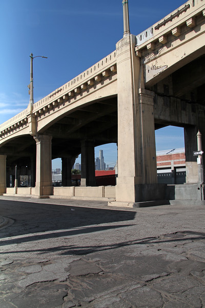 Downtown Los Angeles seen from under 6th street bridge.