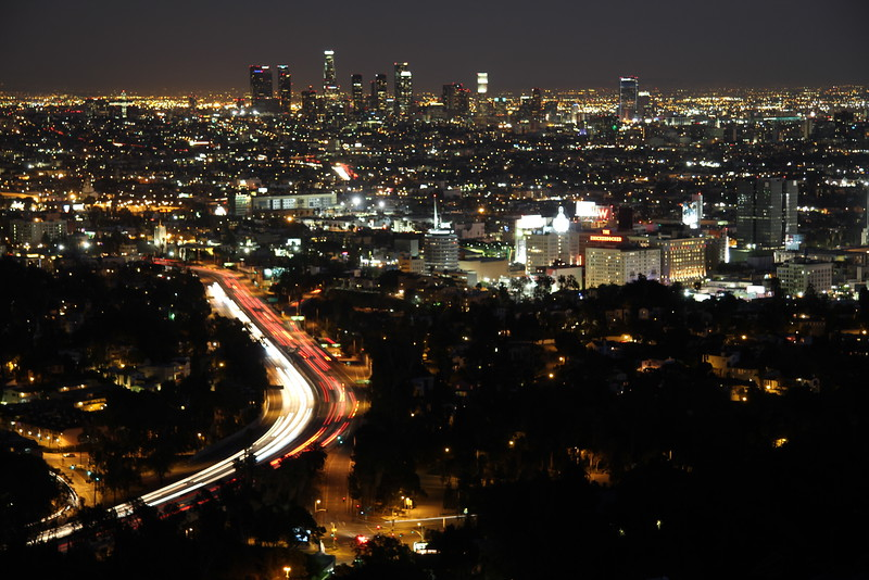 Down town LA seen from Mulholland drive.
