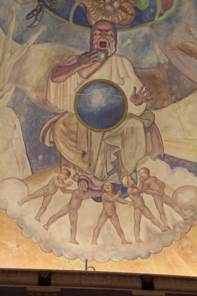 Griffith observatory mural close up.
