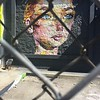 Mural behind chain link.