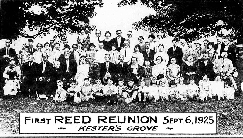 1st row<br /> (sitting on ground) Frank Haught, Joe Reed, Robert Reed, Don Smith, George Clelland, Jim Clelland, Bob Michael, Eleanor Clelland, Jo Clair Clelland, June Clelland, Eleanor Reed, Janet Reed, Virginia Reed, Mary Reed, Betty Reed <br /> 2nd row<br /> (sitting on chairs) Lizzie Lanham, Will Lanham, ? Mary E Reed Clelland, Robert Righter, Clara Reed Smith, Adeline Reed, Joseph Reed, Jr., Arthur Reed, Malinda Reed Meredith, Myra Reed Elliott, Allene Clelland, Eunice Scranage Reed, Eva Brisco Reed, Price Smith, Robert Sidney Reed <br /> 3rd row<br /> Standing Alice Frum, Anna Carder Reed, Nelle Smith, Lily Clelland, ? Lena Elliott, Wilma Clelland Jarrett, Ted Jarrett, Mary Clelland Kiger, Roy Kiger, Clara Reed, Ralph Smith, Minnie Reed, Scott Reed, Clark Reed, Mildred Reed Frum, Ed Meredith <br /> 4th row<br /> Standing  Charlie Reed, Jim A. Clelland, Edith Clelland, Susie Reed, Boyd Reed, Kelsey Brown Reed, Max Wilson, Walter Scott Reed, Aunt Mabel Reed, Lena Reed, Nola Reed Wilson, Bess Smith Michael, Bert Clelland (H. L.), Myrtle Clelland, Claude Reed, John Frum