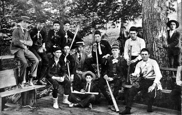 Group of boys in the Grafton Baseball Club.