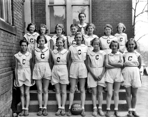 1934 - Members of Central School Girls Basketball team in Grafton, West Virginia, pose for a group portrait.