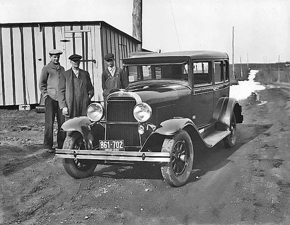 Unidentified Men Beside a 1930 Plymouth With Out of State License Plate (Ohio), Grafton, W. Va 1930