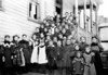West Grafton School (date unknown)<br /> Backrow L-R - Eddie B. Powell, Walter Cook, Gran Sinclair: teacher, Dora Warder, Mandy Durmire, Chauncy Bailey.<br /> Second row - Stella Haney, Anna Cook, Maggie Love, Ermma Goodnow, Dora Powell Lora Powell, Pearl Brooks, Lizzie Love, Garrett McCafferty, Loyd Fast, Andy Durmire, Raymond Kuhn, Harry Legge.<br /> Front row - Dick McDady, Fred Gould, Manly Griffith, Guy Pifer.