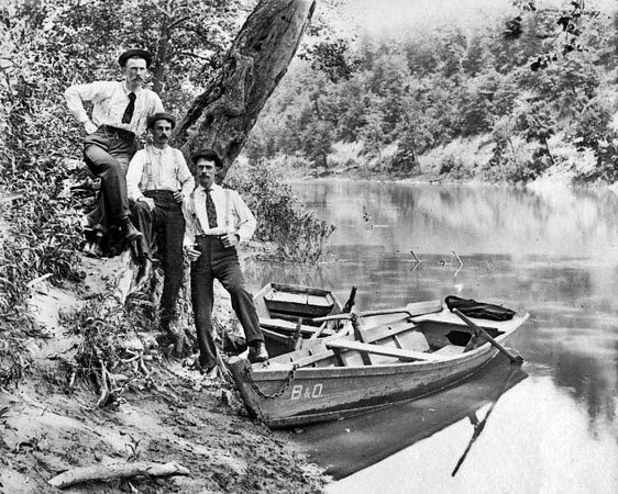 Baltimore and Ohio Railroad Employees on the River Bank at Grafton, W. Va.<br /> Date ca. 1890
