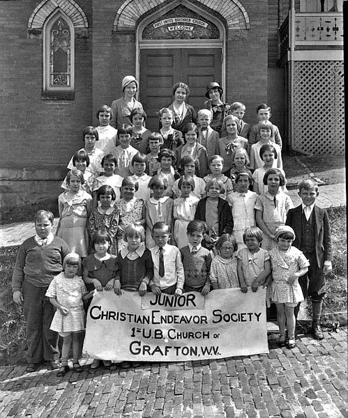 Group portrait of the members of the Junior Christian Endeavor Society of United Brethren Church on Dewey Avenue, West Side, Grafton, West Virginia.
