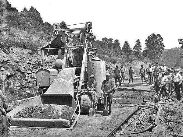 Cole Brothers Construction Crew Building a Road, Grafton, WV 1928.
