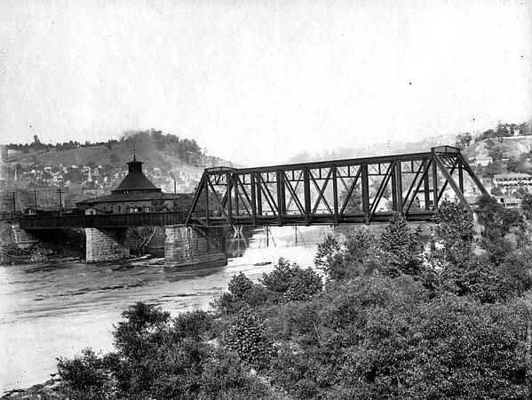 Date ca. 1890 <br /> View of bridge in Grafton, W. Va.