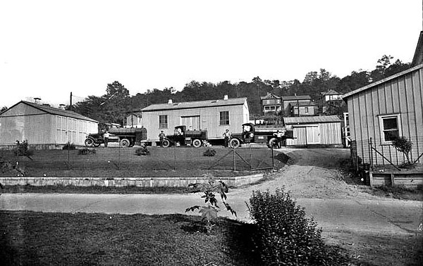 Various buildings and trucks of the Standard Oil Company in Grafton, West Virginia 1925.