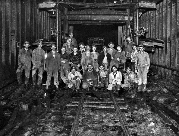 Coal Miners Pose on the Tracks of a Mine in Grafton, W. Va.