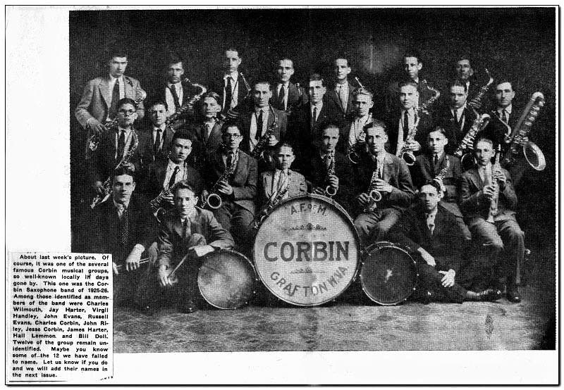 Corbin Saxophone Band, Grafton, W. Va.<br /> Date 1925-1926 - 'Among those identified as members of the band were Charles Wilmouth, Jay Harter, Virgil Handley, John Evans, Russell Evans, Charles Corbin, John Riley, Jesse Corbin, James Harter, Hall Lemmon and Bill Doll. Twelve of the group remain unidentified. '