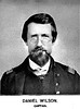 Daniel Wilson was born in Guernsey county, Ohio, August 24th, 1824. His father's name was William F.; mother's, Jane - maiden name, Booth. His parents moved to Barbour county, Va., in 1825. He married Miss Naomi Reger, of Barbour county, in 1845, by whom he had seven children. She died before the close of the war, and he afterwards married a second wife, who bore him four children. He was engaged in farming till 1854, when he went to merchandizing, which he followed in Barbour and Taylor counties till 1860. He was a devoted friend of the union, never flinching from any duty, no matter how arduous or hazardous. He ably assisted Col. Latham in the enlisting of Company B, in May, 1361, went to Wheeling with the company, and was mustered in as second lieutenant. He was promoted from second lieutenant to captain on the 20th day of May, 1862. He was never very robust in health, but was in all the engagements with his company and regiment, until compelled to resign on account of failing health, April 22d, 1863. In 1864 he was appointed post master at Grafton, which position he held until 1876, when he resigned and moved to Michigan, in 1877, on account of his health, and died there in 1878. He has one son, James L., who graduated with honors at West Point, and is now first lieutenant in the Fourth Artillery; and one son, Lloyd L., who is a practicing physician at Grafton, West Va.