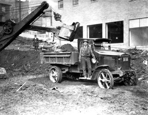 Construction behind Site of Pure Oil Gas Station, Grafton, W. Va.<br /> Date 1926