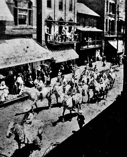 Parade on Main Street for Circus Day, Grafton, W. Va.<br /> Date 1884/05/30
