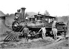 "Locomotive and Crew, Grafton and Greenbrier Railroad, Grafton, W. Va.<br /> Date ca. 1900 - ""Billey"" Grayham, Cap. Jas Flanagan, ""Berney"" Wilmoth, Jake Blocker, Agt. standing around the locomotive."