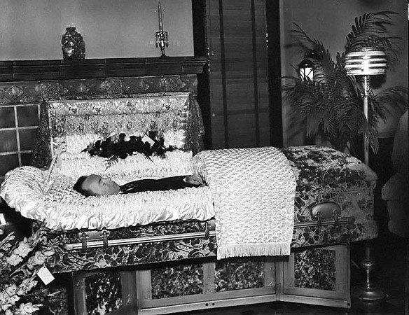An unidentified man in a coffin at a funeral parlor in Grafton, West Virginia.