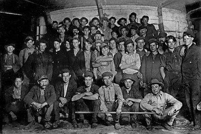 Night shift at Glass Works, Grafton, W. Va. 11:30 P.M. Going to work after 1 hour recess. (see label on #162.) Location: Grafton, West Virginia.