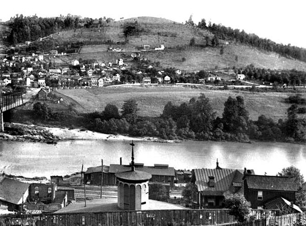 View of Westside from about West Main Street, Grafton, WV 1890's.  Note large water tank in foreground on Latrobe Street.