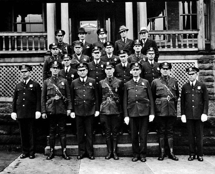 Police in Uniform in Front of Moose Home, Grafton, W. Va.