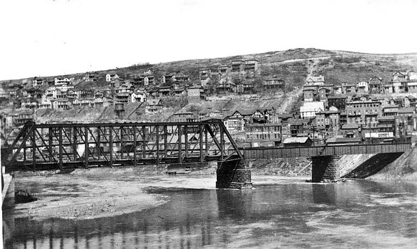 View of the town of Grafton and one of the bridges crossing the river into the town.