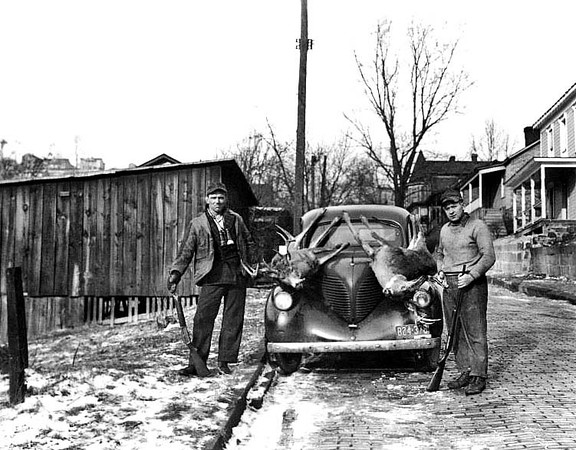Hunters with Deer on the Hood of a Car, South Grafton, W. Va.