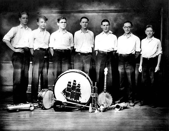 Group portrait of members of the High Hatters Orchestra in Grafton, WV 1927.