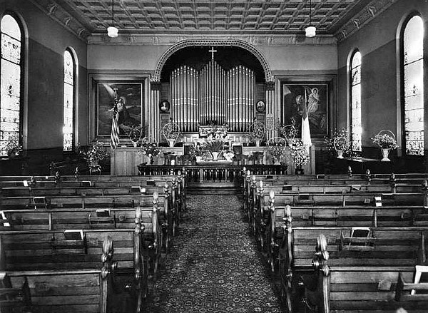 The interior of St. Andrew's Methodist Episcopal Church in Grafton, West Virginia.