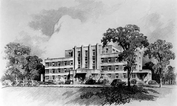 Drawing of Grafton City Hospital, in Grafton, West Virginia.