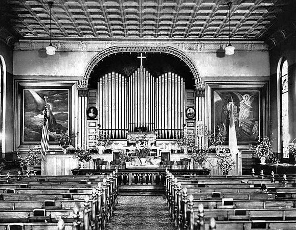 The interior of St. Andrew's Methodist Episcopal Church in Grafton, West Virginia 1911.