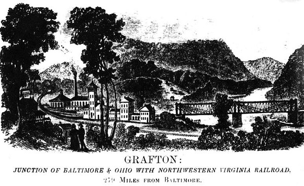 'Grafton: Junction of Baltimore & Ohio with Northwestern Virginia Railroad. 279 miles from Baltimore. The Road to Wheeling is seen in the foreground, while the Road to Parker-burg crosses the Tygart's Valley River by the new Iron Bridge. The Road Workshops and the new Hotel are seen in the forks.'