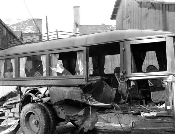 Wrecked Bus of the Bartlett Brothers Bus Company, Grafton, W. Va.<br /> Date 1927