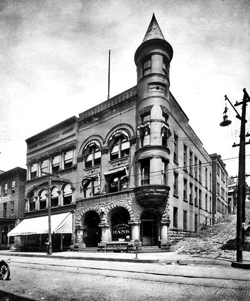 Merchants and Mechanics Savings Bank corner of Main & Lafayette streets, Grafton, W. Va.<br /> Date 1921